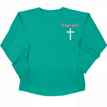 "Blue ""Prayer Girlz"" Slouchy Top"