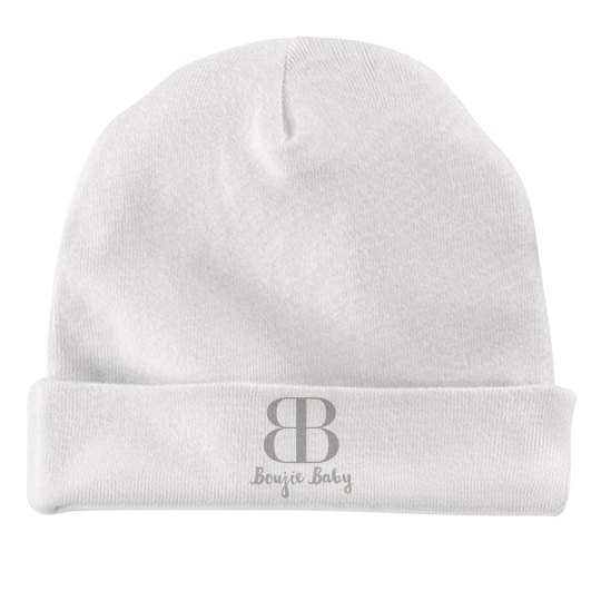 Boujie Baby Silver Text Rabbit Skins Baby Hat