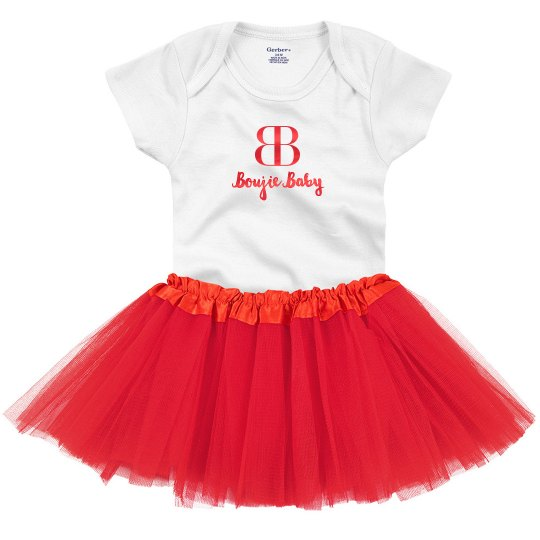 Boujie Baby with Logo Red Metallic Onesie with Tutu