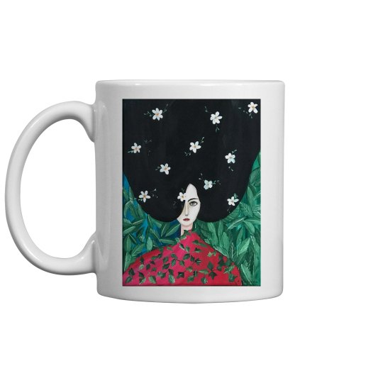 Brunette with flowers and red blouse mug