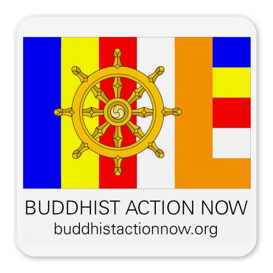 """Buddhist Action Now 2.25"""" Magnet"""