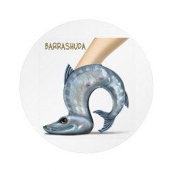 Barrashuda White Circular Button Pin