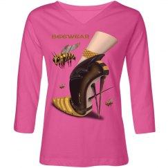 Beewear Loose Fit V Neck ¾ Sleeves Shirt for Misses