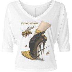 Beewear Bella Flowy V Neck Half Sleeve Cropped T-Shirt