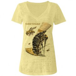 Beewear Burnout Low V Neck T-Shirt for Juniors