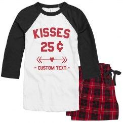 Custom Valentine's Day Kisses Pajamas