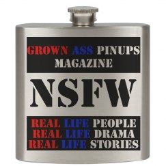 Grown Ass Pinups Magazine 6oz Stainless Steel Flask