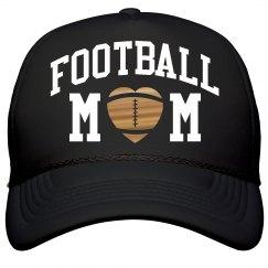 Football Mom Metallic Gold Heart