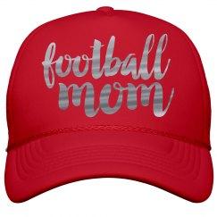 Metallic Silver Foil Football Mom