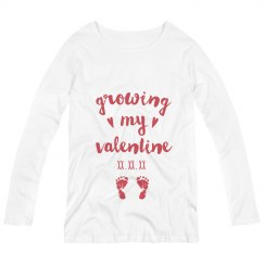 Custom Baby Due Date Growing my Valentine Long-Sleeve