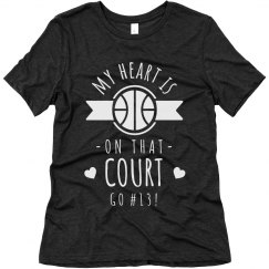 Basketball Mom Heart on the Court Tee