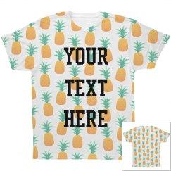 Custom Text White Pineapple Print