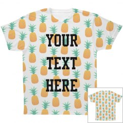 Custom Text White Pineapple Print