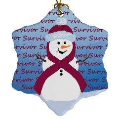 Burgundy Ribbon Snowman Ornament