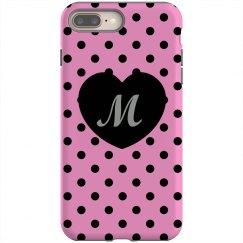 Pink Black Polka Dots Heart Monogram Customize