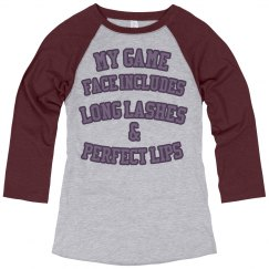 Makeup game face baseball tee