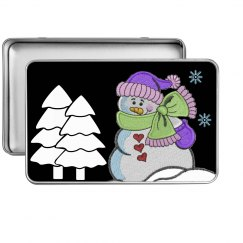 Snowman scene tin