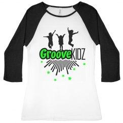 Groove Kidz Ladies Slim Fit 3/4 Sleeve Raglan Tee