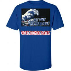 UNISEX BLUE TEE WITH RED VOTE MESSAGE
