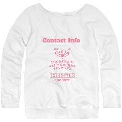 Contact Info Pink Sweatshirt