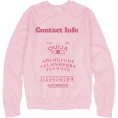 Contact Info Pink on Pink Sweatshirt