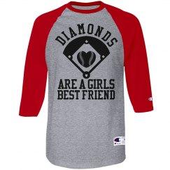 Diamonds Are A Girl's Best Friend Baseball Shirt