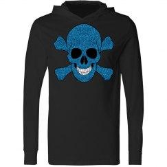 Faux Blue Glitter Skull And Crossbones Hoodie