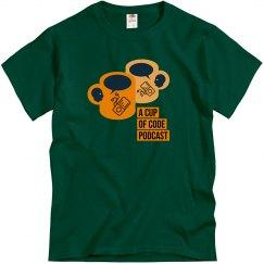 Mens Dark Green A Cup of Code Podcast Alt-Design Shirt