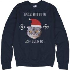 Santa Pet Custom Photo Upload Sweater