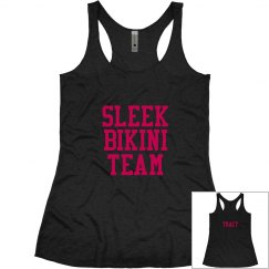 Sleek Bikini Team Racer Back Tank with back text