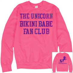 Unicorn Fan Club Sweatshirt - Neon Pink/Purple Glitter