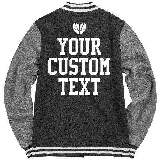 custom basketball jacket ladies fleece letterman varsity jacket