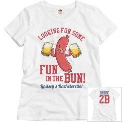 Fun in the Bun Baseball Bachelorette Shirt Bride