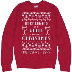 White Wine Friendsmas Ugly Sweater