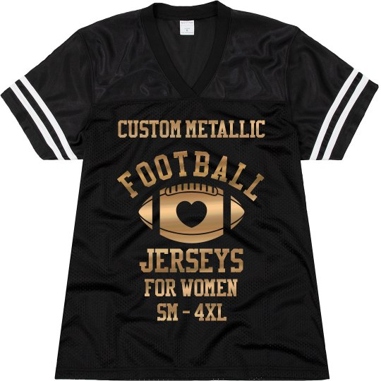 a97b8f40dfd71 Custom Metallic Football Jersey Ladies Relaxed Fit Mesh Football Jersey