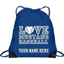 Love mustang baseball drawstring bag with name