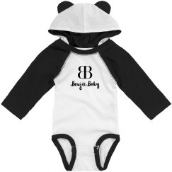 Boujie Baby Black and White Bodysuit Teddy Bear Ears