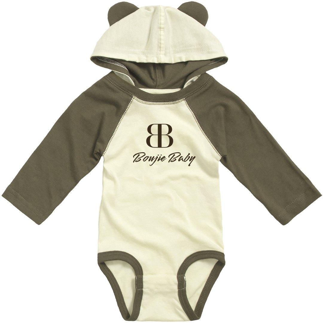 BOUJIE BABY TAN AND BROWN BODYSUIT WITH TEDDY BEAR EARS