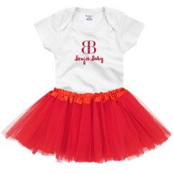 Boujie Baby with Logo Red Glitter Onesie with Tutu