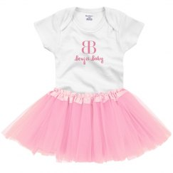 Boujie Baby Pink and White Onesie with Tutu