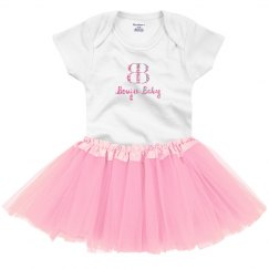 Boujie Baby with Logo Pink Glitter Onesie with Tutu