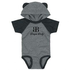 Boujie Baby Gray and Black Bodysuit Teddy Bear Ears