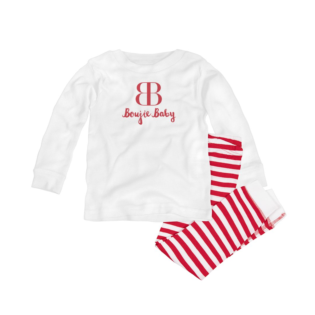 BOUJIE BABY RED AND WHITE INFANT PAJAMA SET
