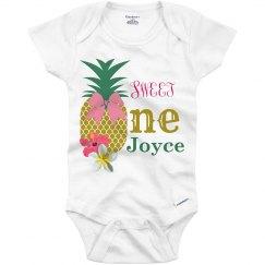 Customized Girls Pineapple 1st Birthday Onsie