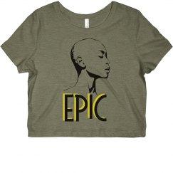 EPIC Bald African American Woman Slim Fit Crop Top Tee