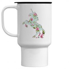Floral Unicorn Travel Mug