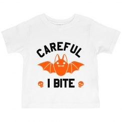 Careful I Bite Ruffle Toddler Tee
