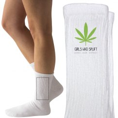 Girls Who Splift Green Leaf Socks