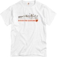 HI-O-HI-O Cleveland Ohio Skyline CLE Football T-shirt
