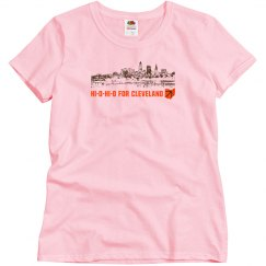HI-O-HI-O Cleveland Ohio Skyline CLE Football T-shirt
